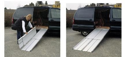 Rampe portatili per disabili in alluminio ripiegabili a for Trattorino disabili